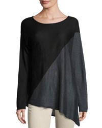 Tahari By Arthur S. Levine Asymmetric Long Sleeve Tunic Black Gray