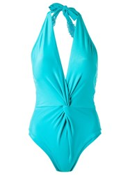 Martha Medeiros Halterneck Swimsuit Blue