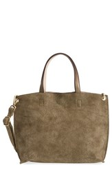 Street Level Reversible Faux Leather Crossbody Mini Tote And Wristlet Green Olive Nude