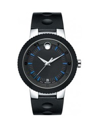 Movado Sport Edge Stainless Steel And Rubber Strap Watch Black