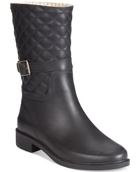 Chooka Top Solid Quilted Riding Rain Boots Women's Shoes Black