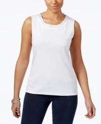 Karen Scott Cotton Embellished Tank Top Only At Macy's Bright White
