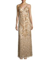 Marina Sequined Mesh Long Gown Gold