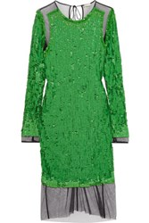 Emilio Pucci Sequined Mesh Dress Lime Green