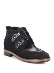 Giorgio Armani Shearling Lined Suede And Leather Buckle Booties Black