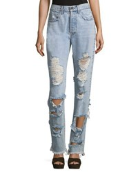 Alice Olivia Genevive Extremely Distressed Straight Leg Girlfriend Jeans Light Blue