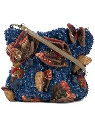 Jamin Puech Sequinned Shoulder Bag Cotton Goat Skin Rayon Sequin Blue