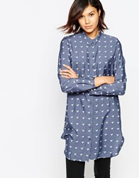 Only Bird Print Shirt Dress Grisaille W. Aop Grey