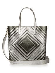 Anya Hindmarch Diamonds Featherweight Ebury Leather Tote Green Silver