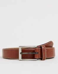 Original Penguin Smart Leather Belt In Brown