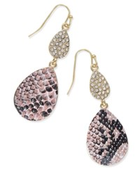 Thalia Sodi Gold Tone Pink Snakeskin Inspired Pave Teardrop Earrings Only At Macy's