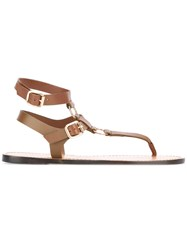 Tila March Maiori Flat Sandals Women Leather 35 Brown