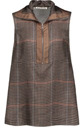 Acne Studios Chanay Houndstooth Silk Satin Twill Top Multi