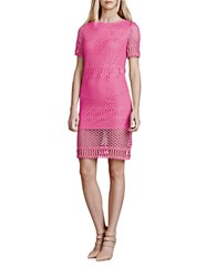 Julia Jordan Crochet Sheath Dress Hot Pink