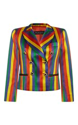 Rossella Jardini Rainbow Jacquard Double Breasted Tuxedo Jacket Stripe