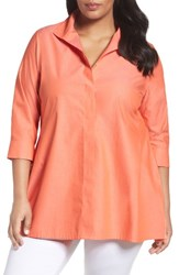 Foxcroft Plus Size Women's Skye Non Iron Tunic Shirt Fire