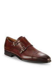 Saks Fifth Avenue Double Monk Strap Leather Shoes Brown