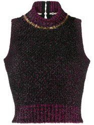 Versace Sleeveless Knitted Top Black