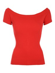 Jane Norman Ribbed Bardot Button Jumper Red