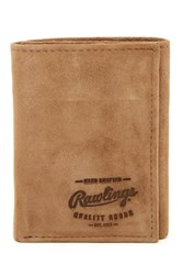 Rawlings Sports Accessories Double Steal Tri Fold Suede Wallet Brown