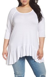 Dantelle Plus Size Women's Ruffle Hem Top White