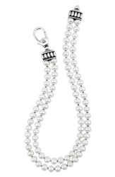Women's Lagos 'Luna' Double Row Pearl Necklace Silver Pearl Online Only
