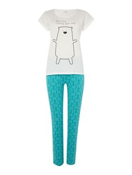 Therapy Bear Hug Jersey Pj Set Aqua