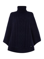 Dickins And Jones Cara Cable Knit Poncho Navy