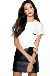 Boohoo Anchor Print T Shirt White