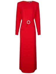Alessandra Rich Red Belted Long Sleeve Midi Dress