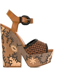 Sergio Rossi Wooden Wedge Sandals Brown