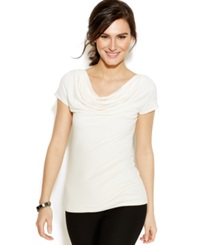 Studio M Short Sleeve Cowl Neck Top Ivory