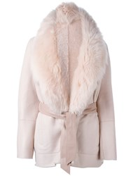 Drome Lamb Fur Collar Belted Coat Pink And Purple
