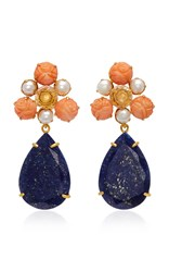 Bounkit Gold Plated Carved Bamboo Coral Pearl Clear Quartz And Lapis Earrings Pink