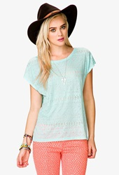 Forever 21 Tribal Pattern Sheer Tee Mint