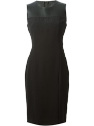 Burberry London Leather Panel Dress Black