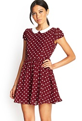 Forever 21 Polka Dot Fit And Flare Dress Burgundy Cream