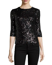 French Connection Cosmic Sparkle 3 4 Sleeve Top Black Holo