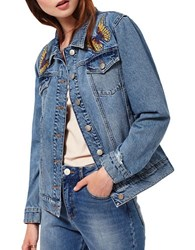 Miss Selfridge Embroidered Denim Jacket Blue