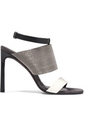 Brunello Cucinelli Embellished Leather Sandals Black
