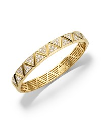 18K Yellow Gold Triangoli Diamond Bangle Bracelet Marina B