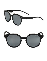 Polaroid 51Mm Round Sunglasses Black
