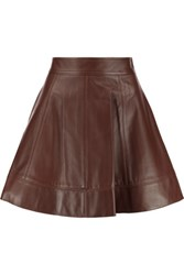 Michael Kors Collection Leather Mini Skirt Brown