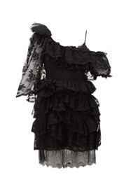 Preen By Thornton Bregazzi Valerie One Shoulder Tiered Lace Dress Black