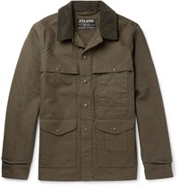 Filson Filon Corduroy Trimmed Cotton Canva Field Jacket Green