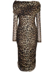 Christian Siriano Leopard Print Dress Neutrals