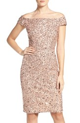 Adrianna Papell Women's Off The Shoulder Sequin Sheath Dress