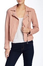 Doma Leather Asymmetrical Zip Jacket Pink