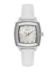 Breil Milano Square Stainless Steel Mother Of Pearl And Leather Watch White
