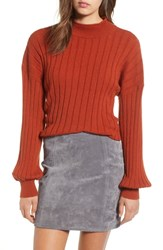 Leith Easy Rib Pullover Sweater Brown Spice